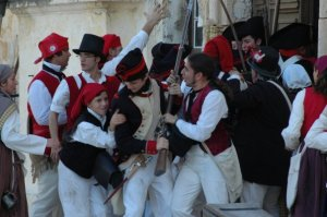 Maltese resist the French soldiers in 1798 - re-enacted at Fort St. Elmo